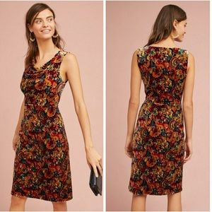 Anthropologie Velvet Printed Column Dress